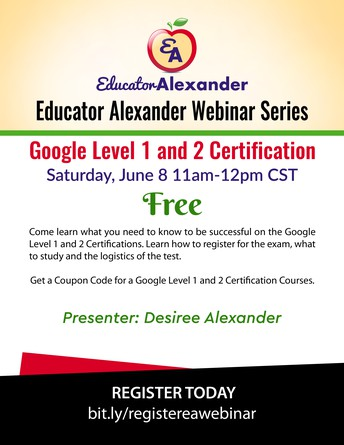 LAST CHANCE TO REGISTER FOR Google Level 1 and 2 Certification FREE Webinar!