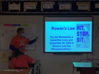 Mr. Wartman presenting about Rowan's Law and concussion safety