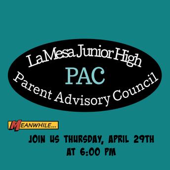 PAC Meeting, Thursday, April 29th