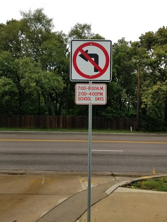New 'No Left Turn' sign from West Parking Lot