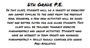 PE Information from Coach Trompler