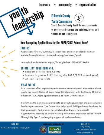 Accepting Applications! El Dorado County Youth Commission