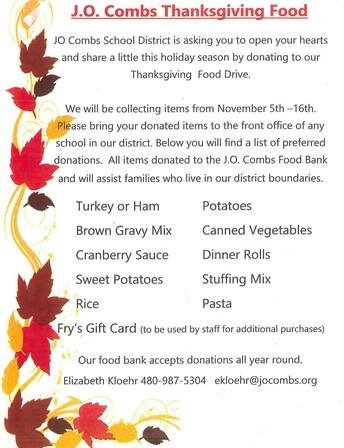 J.O. COMBS THANKSGIVING FOOD DRIVE