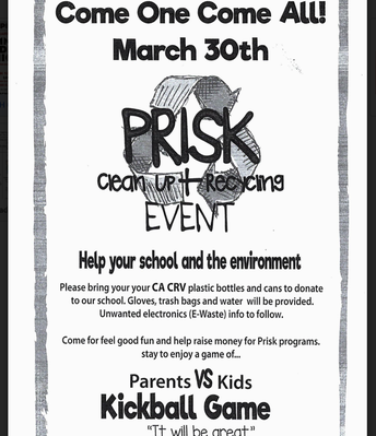 March 30th: Prisk Clean Up & Recycling Event