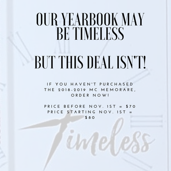 LAST CALL FOR YEARBOOK PURCHASES BEFORE PRICE GOES UP!!!!