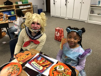 Reading buddies in halloween costumes!!