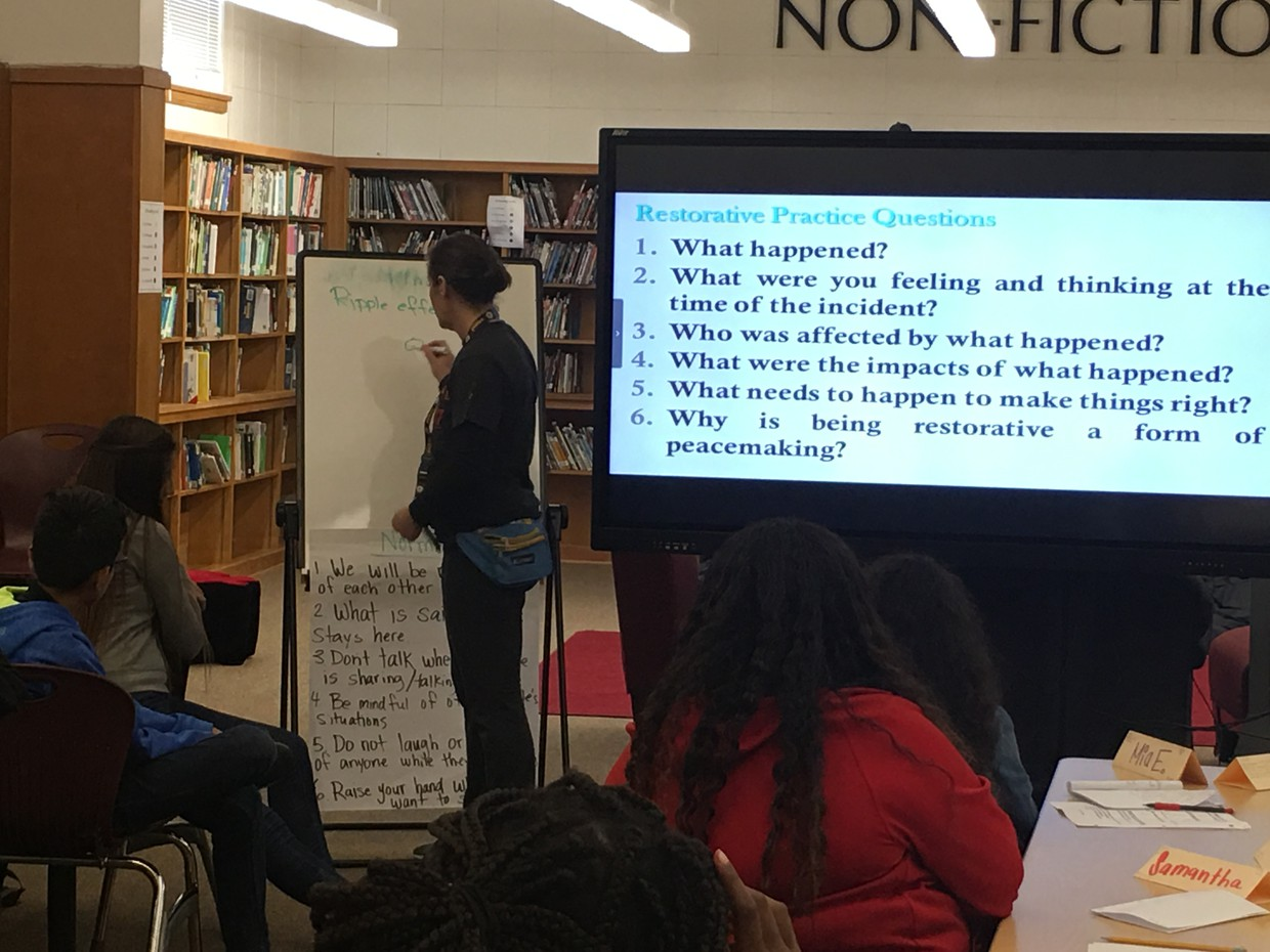 PE Teacher, Ms. Whittaker, leads 7th graders through restorative questions and practices to provide strategies for positively acknowledging conflict.