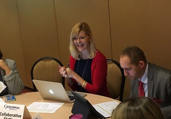 Michelle Bozzini works with educators on the hybrid learning model
