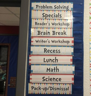 Pocket Chart Daily Schedule in 1st Grade