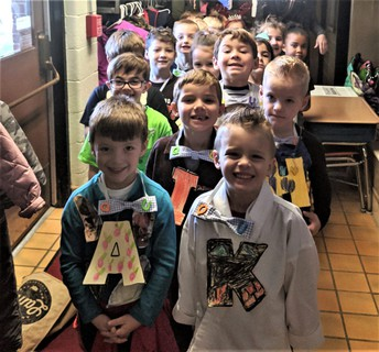 Mrs. Kingzett's Munson Elementary Kindergarten students attend the wedding for the letters Q & U..