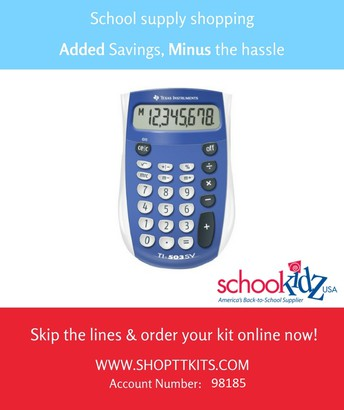 School Kits for 2018-2019 School Year