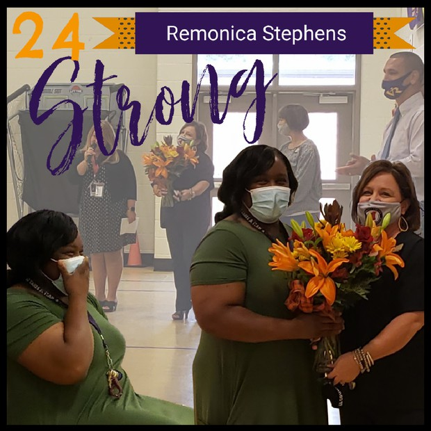 County Office Officials present 24STRONG Award to Assistant Principal, Remonica Stephens