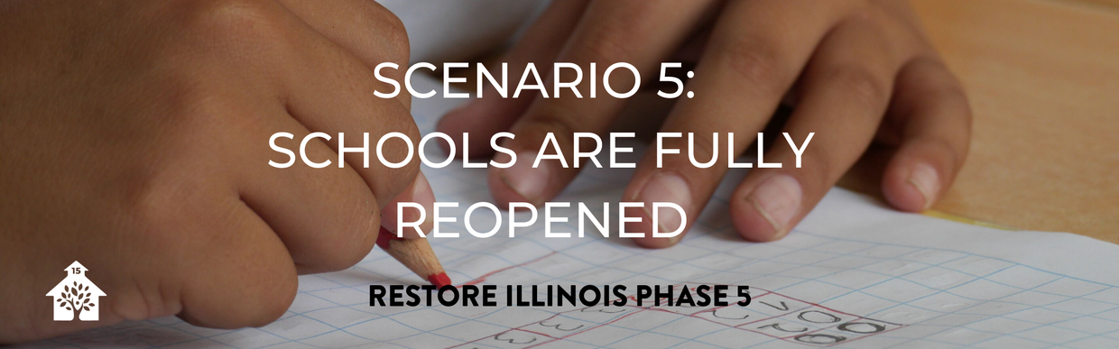 Scenario 5: Schools are fully reopened. Restore Illinois Phase 5