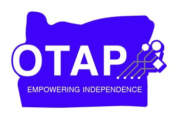 OTAP Logo, a purple outline of the state of Oregon, emblazoned with OTAP, Empowering Independence