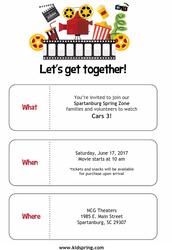SPRINGZONE - Sensory Friendly Movie Day: Cars 3