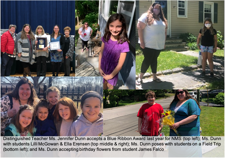 A photo collage of Distinguished Teacher Ms. Jennifer Dunn with staff and students.
