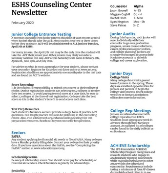 Counseling Center News
