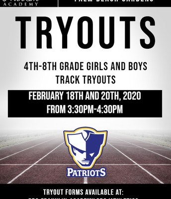 Track Tryouts-February 18 & 19