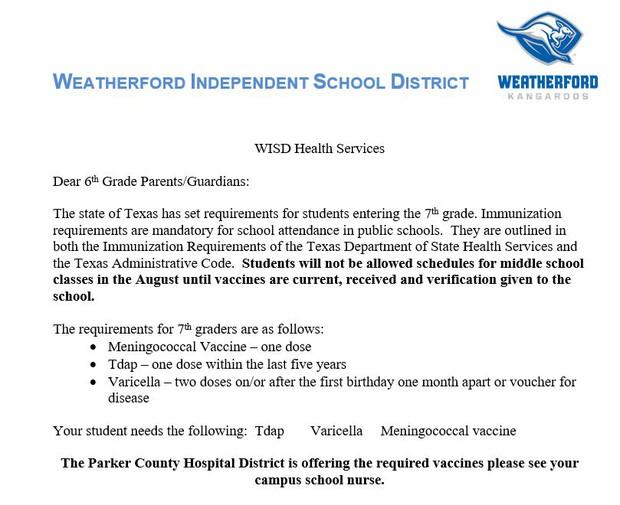 WISD Letter to 6th Grade Parents/Guardians