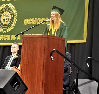 Emma Koch gives the graduate address