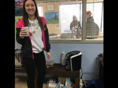 Maddie enjoying Bridges Coffee Station