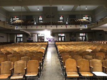 Historic Northeast Auditorium with Today's Core Values Displayed