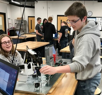 Students build automated assembly lines