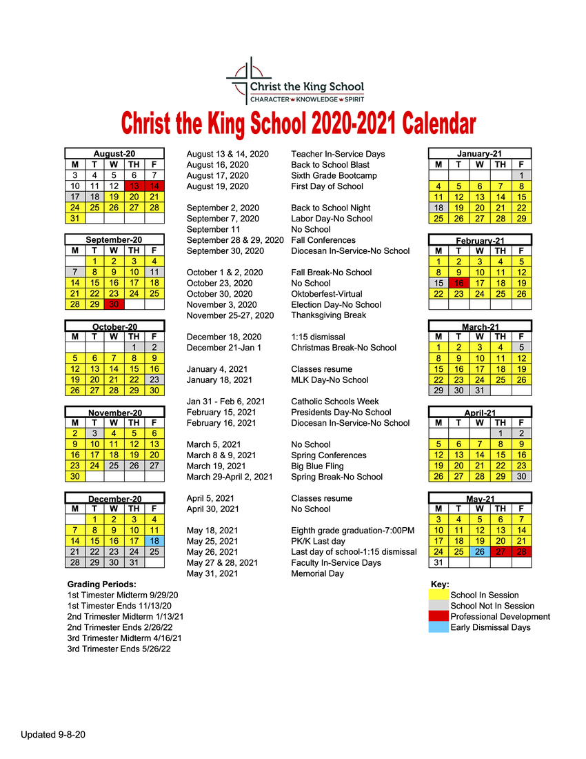 Click for a PDF of the 2020-21 School Calendar