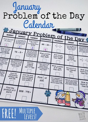 January Math Problem of the Day Calendars (Grades K-2, 3-5 & 6-8)