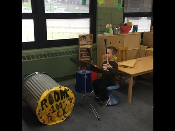 Student playing drums!