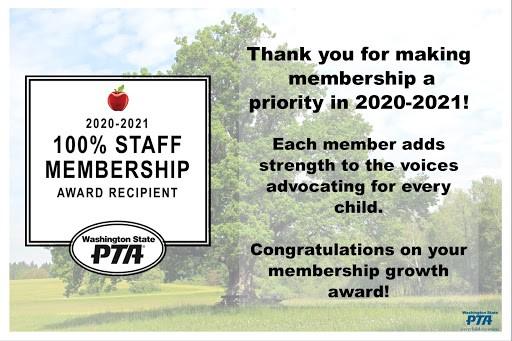 100% Staff Membership PTA award