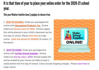 20-21 School Supplies Ordering