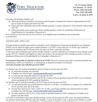 P-EBT June 1 Letter in Spanish