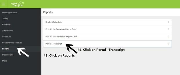 screenshot of Infinite Campus portal