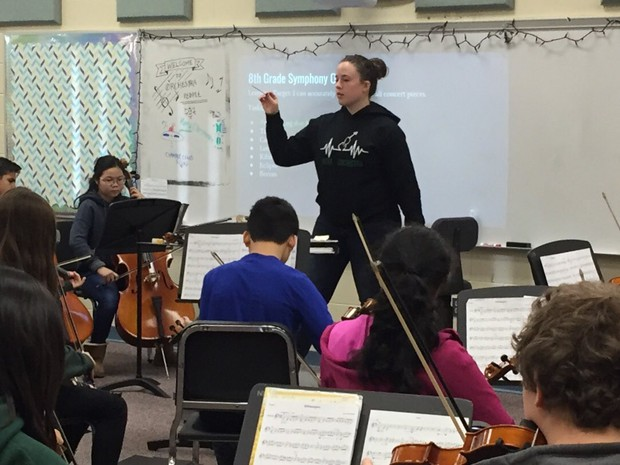 Mrs. Hickey leads the Novi Middle School orchestra