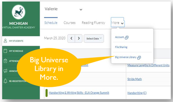 Big Universe Library in Learning Coach Account