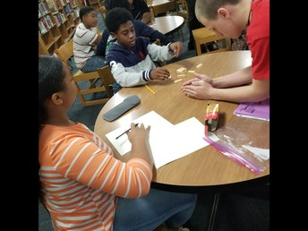 Math students working in the Library