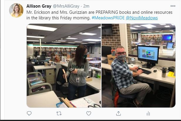 A tweet from Allison Gray showing Mr. Erickson and Mrs. G preparing books and resources in the library media center..
