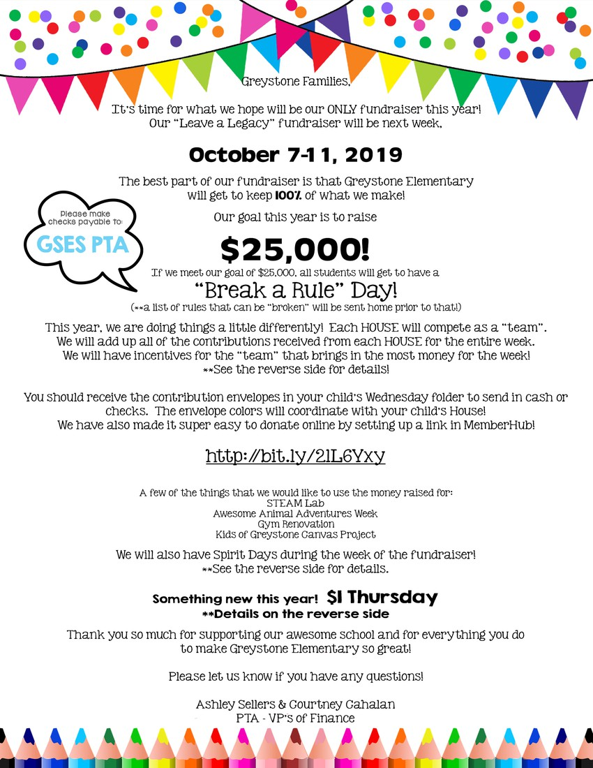 Leave a Legacy Dollar Day is Thursday, October 10