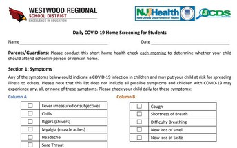 Daily Health Screening for Students