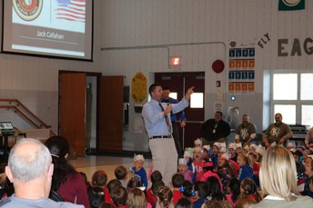 Mr. H. got the students into the action with a V-E-T-S Vets, Vets, Vets chant!
