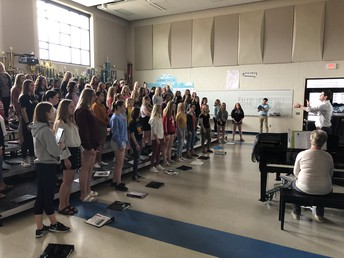 Concert Choir rehearsing for an upcoming performance