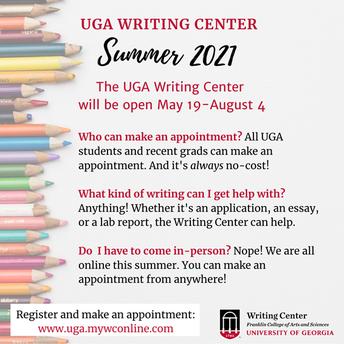 UGA Writing Center Summer Hours