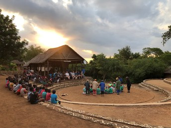 Wamogo and GEMS students attend a ceremony in Makuleke Village.