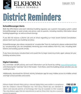 District Reminders