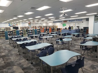 the media center at Pompano Beach Middle School