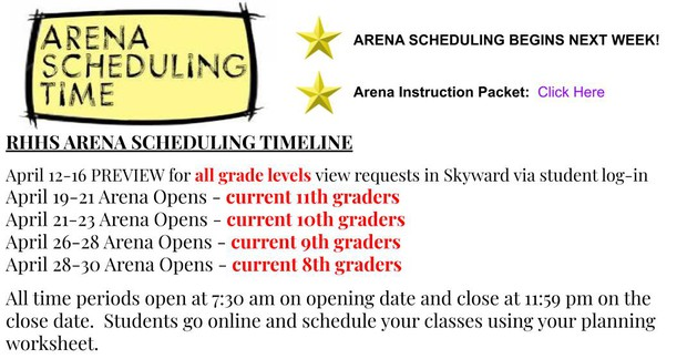 Click HERE for the Arena Instruction Packet.