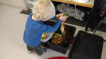Toddler Composting