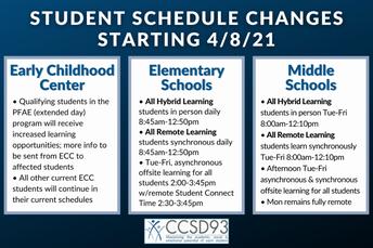 Reminder: Spring Schedule