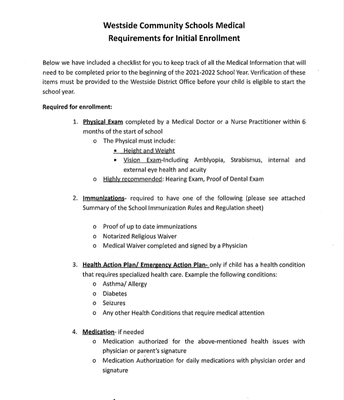 Medical Requirements for Initial Enrollment